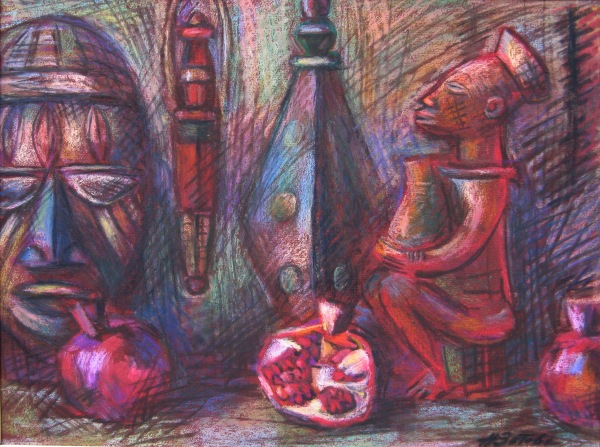 Нина Зотова. Африканский натюрморт с гранатами. Наждачная бумага, пастель