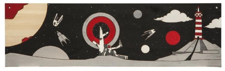 Кирилл Рубцов. из серии Планетарий. дерево, акрил, выжигание, 30х100см (7)